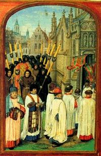 processie rond de kerk
